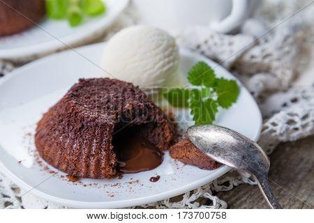 Chocolate fondant - lava cake with vanilla ice cream, copy space