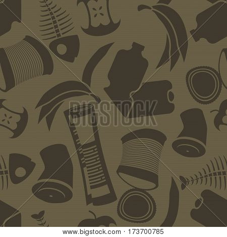 Litter Background. Rubbish Seamless Pattern. Garbage Texture. Trash Ornament. Peel From Banana And S