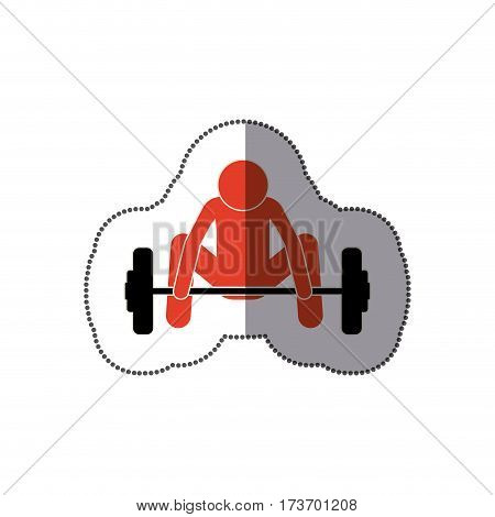 people man trying to lift weight icon, vector illustration design