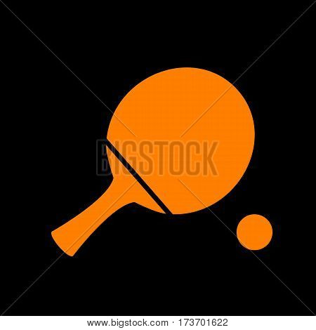 Ping pong paddle with ball. Orange icon on black background. Old phosphor monitor. CRT.