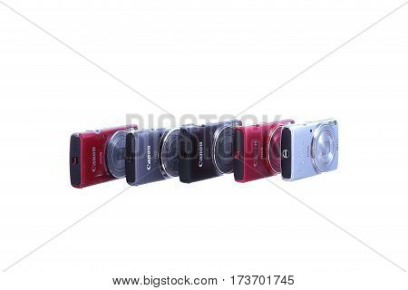 Kyiv, Ukraine - July 10, 2015: Photo Of Group Of A Compact Cameras, Canon, Isolated On White