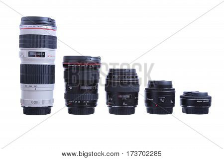 Kyiv, Ukraine - July 11, 2015: Set Of Canon Ef Lenses Containing A 8-15Mm Fish-eye, A 16-35Mm, A 50M
