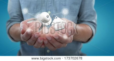 Man holding invisible object against blue background 3D