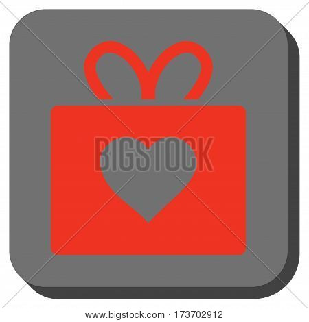 Love Gift interface toolbar icon. Vector pictograph style is a flat symbol centered in a rounded square button, red and black colors.
