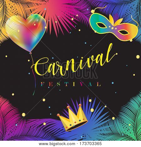 Carnival festive poster vector. Mardi Gras carnival banner, graphic design. Brazilian Carnival poster. Holiday, colorful Illustration with carnival mask, balloons, confetti, palm tree leafs background.