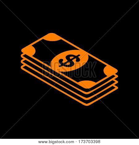 Bank Note dollar sign. Orange icon on black background. Old phosphor monitor. CRT.