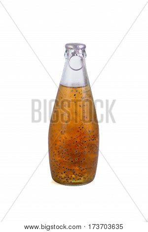 Sweet Seed Drink In Glass Bottles On Background