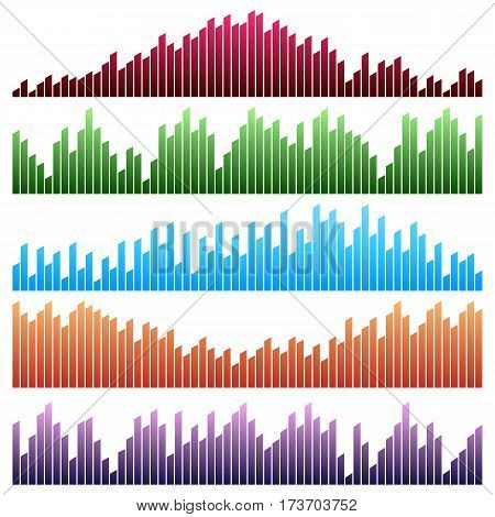 Sound waves vector set. Audio equalizer. Sound & audio waves isolated on white background.