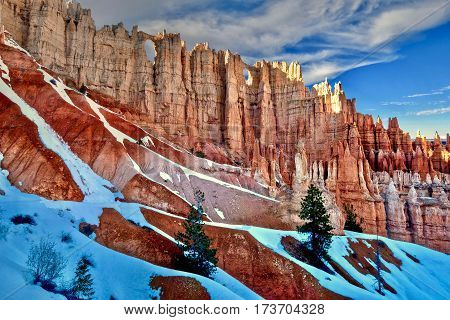 Hoodoos with snow in Bryce Canyon National Park. Wall of Windows. Bryce. Cedar City. Utah. United States.