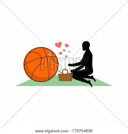 Lover Basketball. Guy And Ball On Picnic. Meal In Nature. Blanket And Basket For Food On Lawn. Roman