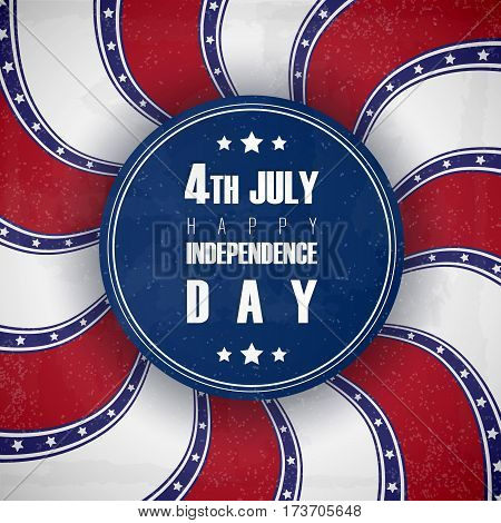 4 of July USA Independence Day greeting card. National flag card retro design.