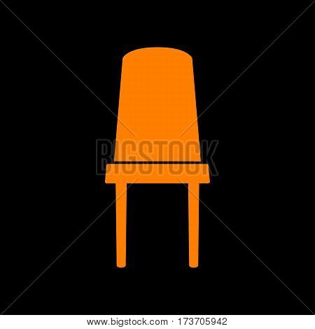 Office chair sign. Orange icon on black background. Old phosphor monitor. CRT.