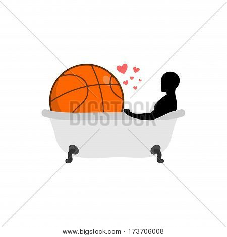 Lover Basketball. Man And Ball In Bath. Joint Bathing. Passion Feelings Among Lovers. Romantic Date.