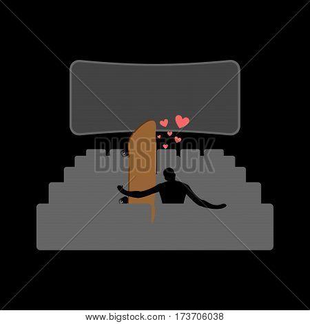 Lover Skateboarding. Skateboard And Skateboarder In Movie Theater. Lovers Watching Cinema. Romantic