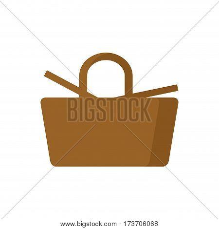 Picnic Basket Isolated. Wicker Basket On White Background