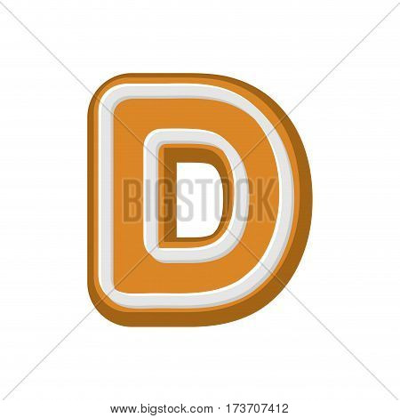 Letter D Gingerbread. Peppermint Honey-cake Font. Cookies Alphabet. Lettering Biscuit