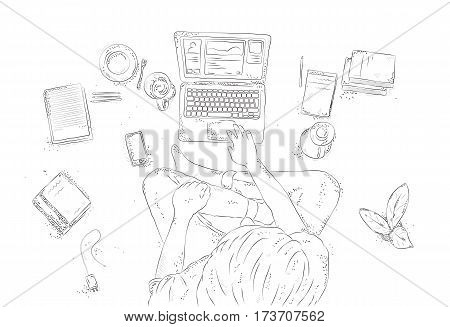 Hand drawn contour illustration, young man top view on white background. Human with laptop at home, sitting on the floor.