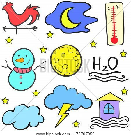 Doodle of weather set design vector collection stock