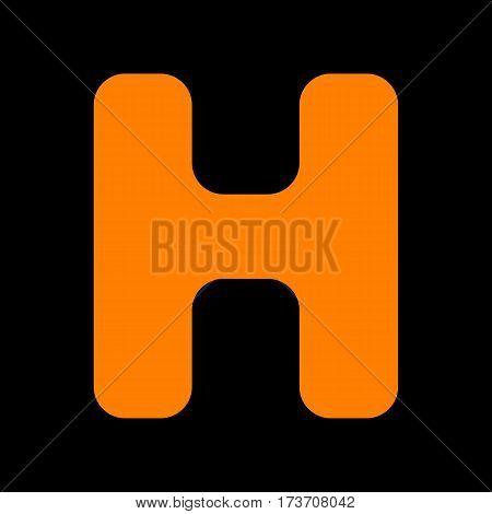 Letter H sign design template element. Orange icon on black background. Old phosphor monitor. CRT.