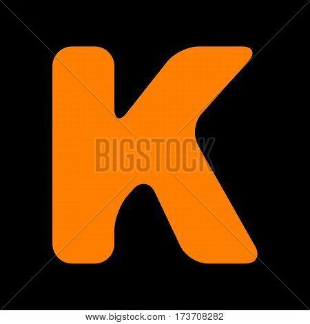 Letter K sign design template element. Orange icon on black background. Old phosphor monitor. CRT.