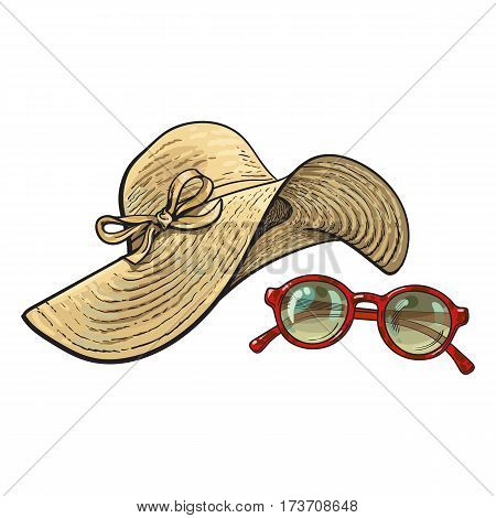 Fashionable straw hat with wide flaps and sunglasses in red round frame, summer objects, sketch vector illustration isolated on white background. Hand drawn floppy straw hat and round sunglasses