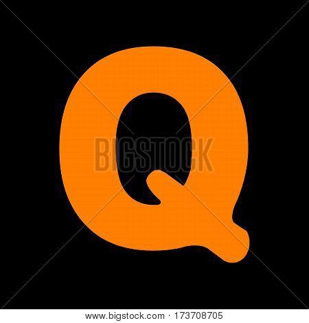 Letter Q sign design template element. Orange icon on black background. Old phosphor monitor. CRT.