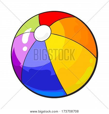 Rainbow colored inflated beach ball, sketch style vector illustration isolated on white background. Hand drawn colorful beach ball, symbol of summer vacation in tropical countries