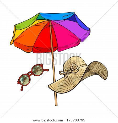 Summer straw hat with wide flaps, sunglasses in round frame and beach umbrella, sketch vector illustration isolated on white background. Hand drawn floppy straw hat, round sunglasses, beach umbrella