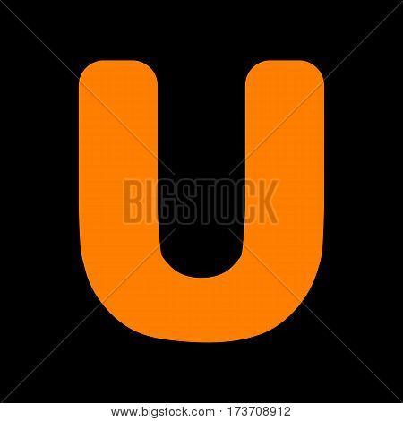 Letter U sign design template element. Orange icon on black background. Old phosphor monitor. CRT.
