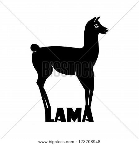 Animal logo Lama, Lama silhouette isolated on white background