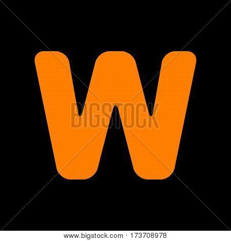 Letter W sign design template element. Orange icon on black background. Old phosphor monitor. CRT.