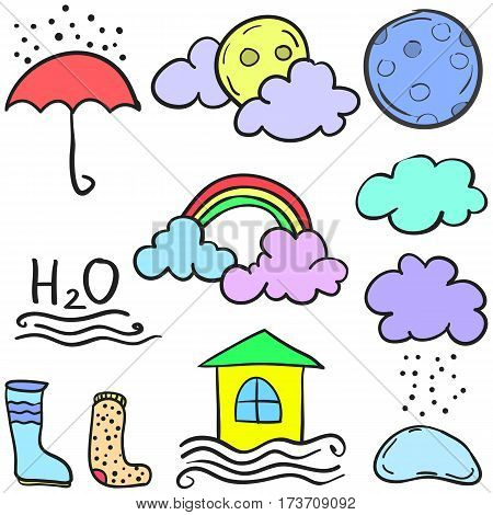 Vector art of wether style cloud doodles collection