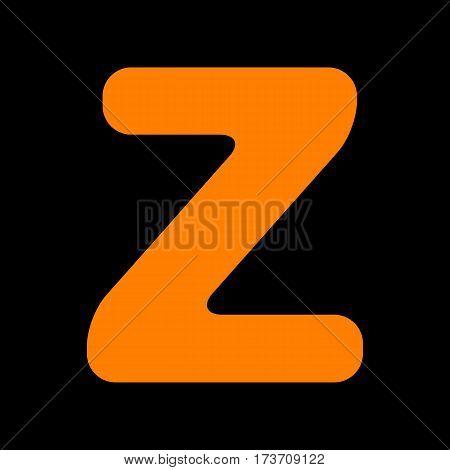 Letter Z sign design template element. Orange icon on black background. Old phosphor monitor. CRT.