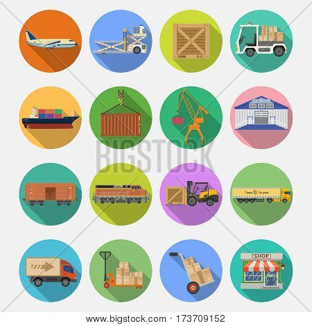 Cargo Transport, Packaging, shipping, delivery and logistics flat Icons Set with Truck, air cargo, Train, Shipping on colored circles with Long Shadows. isolated vector illustration