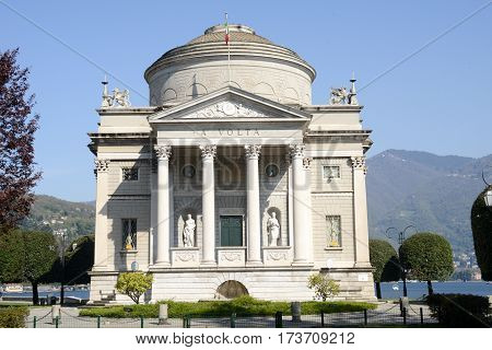 Como, Italy - 13 April 2015: Monument to Alessandro Volta inventor of battery at Como on italy