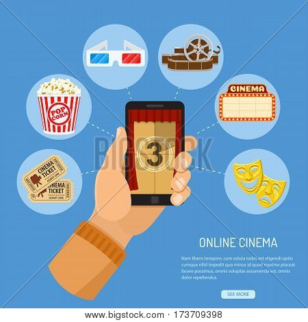 Concept online movie, man holding smartphone vertically in hand with curtain and countdown on screen, isolated vector flat icon illustration