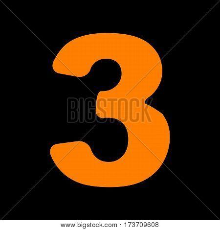 Number 3 sign design template element. Orange icon on black background. Old phosphor monitor. CRT.
