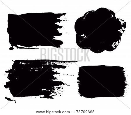 Grunge paint vector. Painted brush stroke stripes. Rectangle text box set. Distress texture backgrounds. Hand drawn banners, labels. Black textured design elements. Grungy scratch effect paintbrush.