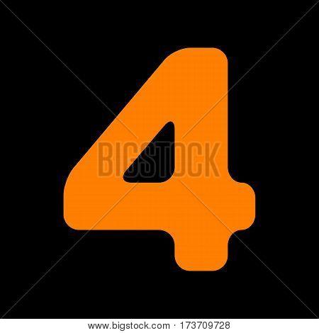 Number 4 sign design template element. Orange icon on black background. Old phosphor monitor. CRT.