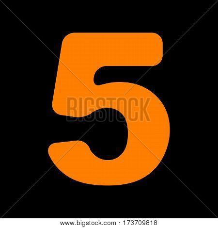 Number 5 sign design template element. Orange icon on black background. Old phosphor monitor. CRT.
