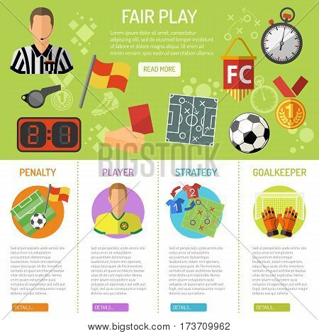 Soccer infographics with flat icons penalty, player, referee and goal, isolated vector illustration