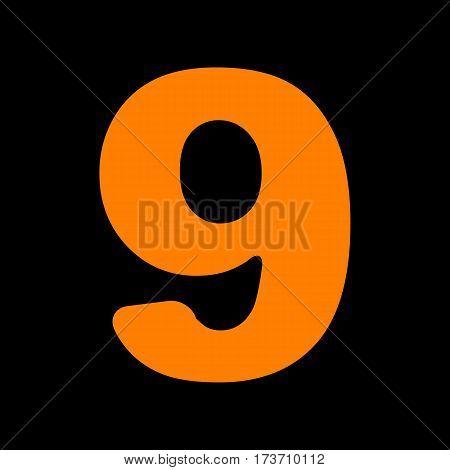 Number 9 sign design template element. Orange icon on black background. Old phosphor monitor. CRT.