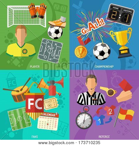 Soccer square banners set with flat icons referee, championship, player and trophy. vector illustration