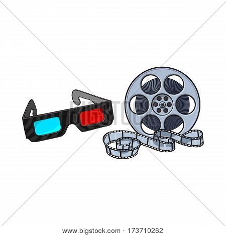 Blue and red stereoscopic, 3d glasses and cinema film reel, movie ticket, sketch vector illustration isolated on white background. Cinema objects - 3d stereoscopic glasses and motion picture film reel
