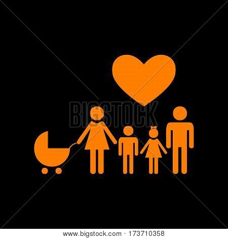 Family sign with heart. Husband and wife are kept children's hands. Orange icon on black background. Old phosphor monitor. CRT.