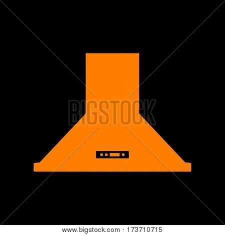 Exhaust hood. Kitchen ventilation sign. Orange icon on black background. Old phosphor monitor. CRT.