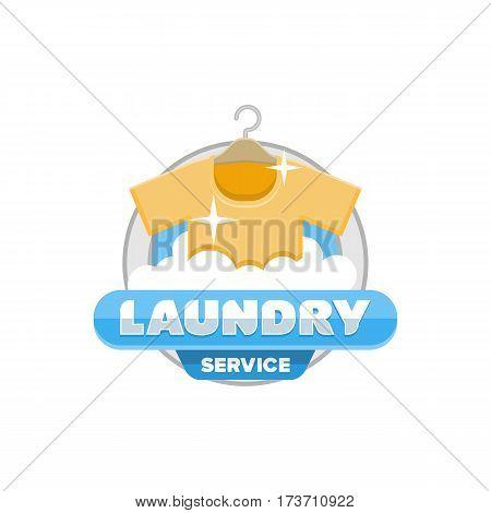 laundry service logo badge template design vector