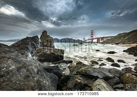 Golden Gate Bridge And Pacific Ocean
