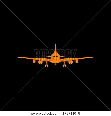 Flying Plane sign. Front view. Orange icon on black background. Old phosphor monitor. CRT.