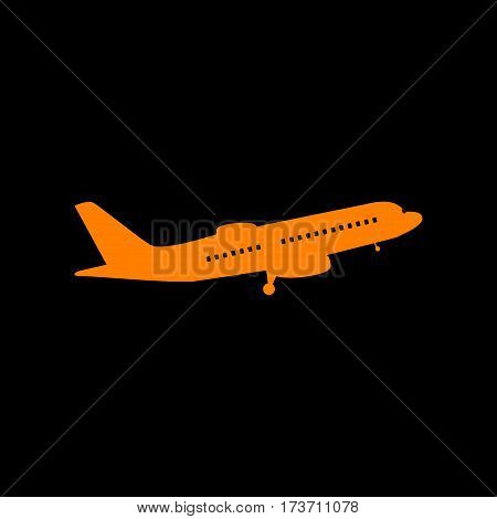 Flying Plane sign. Side view. Orange icon on black background. Old phosphor monitor. CRT.